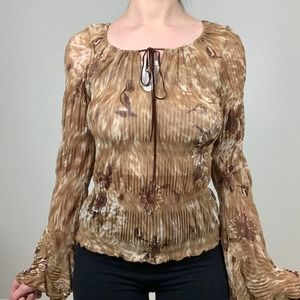 Misope USA Brown Floral Bell Sleeve Top